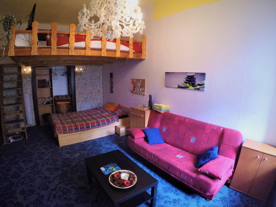 New doublebed in room for visitors.