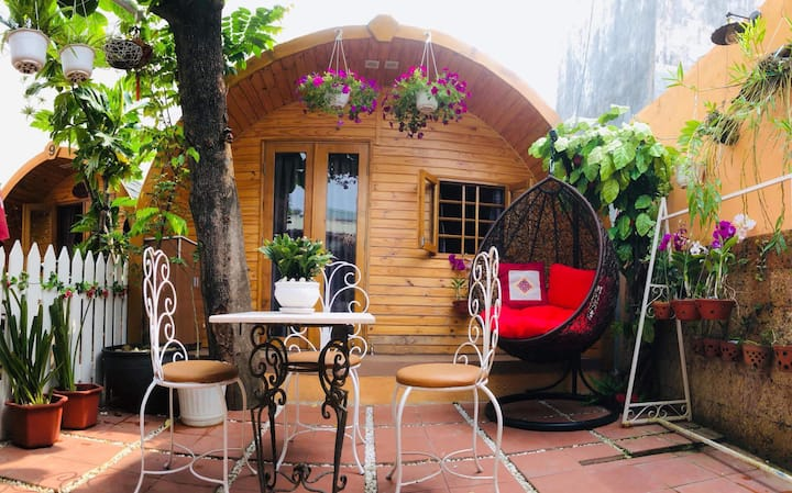 Danang beachside wooden homestay with rose garden