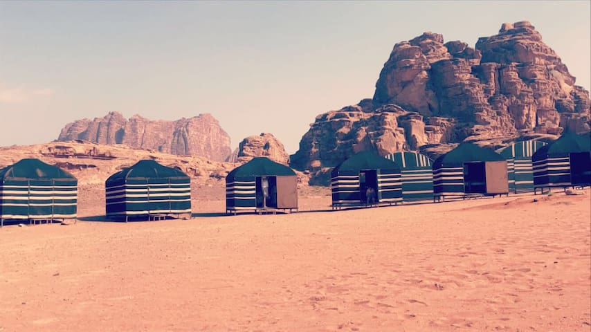 Bedouin tent with 3 beds in Desert Bird Camp