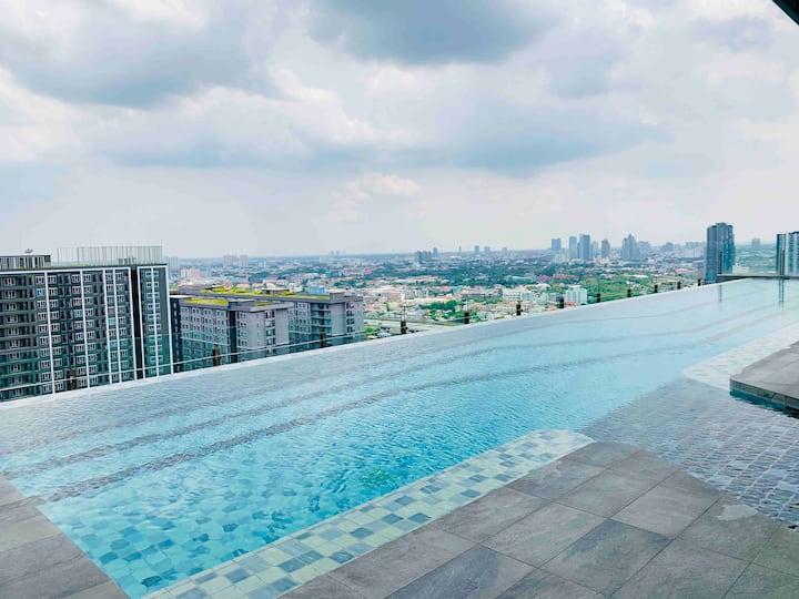 Scenic Top View BKK IDEO 1BR@MRT Bangson #Brandnew