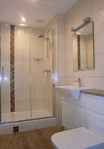 New bathroom with a 120cm shower. Renovated in Autumn 2019