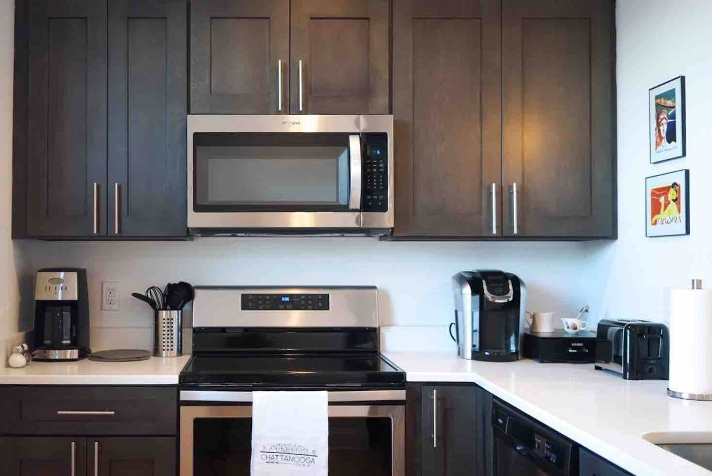 Stocked kitchen includes Pots & Pans, Cooking Utensils, Keurig + K Cups & Coffee Maker, Toaster, Blender and much more.