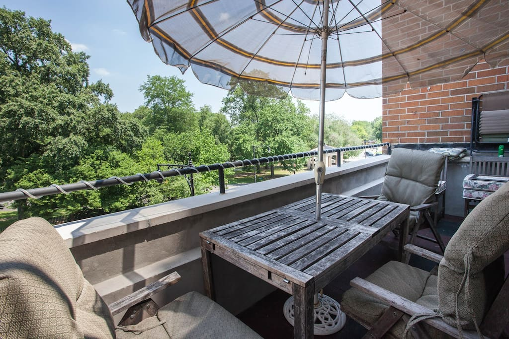 a view of prospect park from your own private terrace. its summer and as the seasons change the lake comes into view. watch the runners, bikers, horseback riders and strollers as you sip your favorite drink