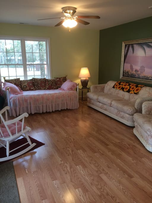 Large great room with lots of natural light.