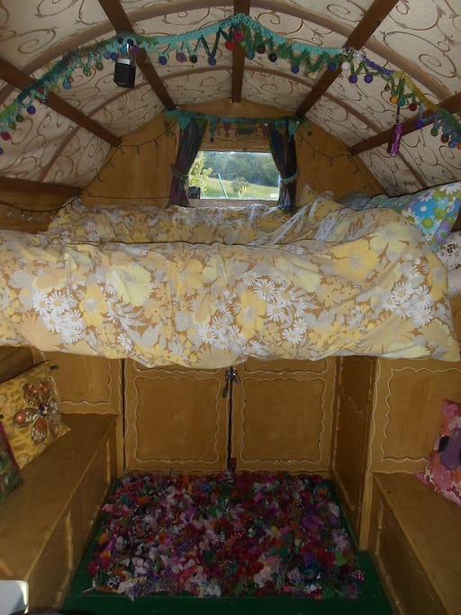 Inside the gorgeous little cosy wagon