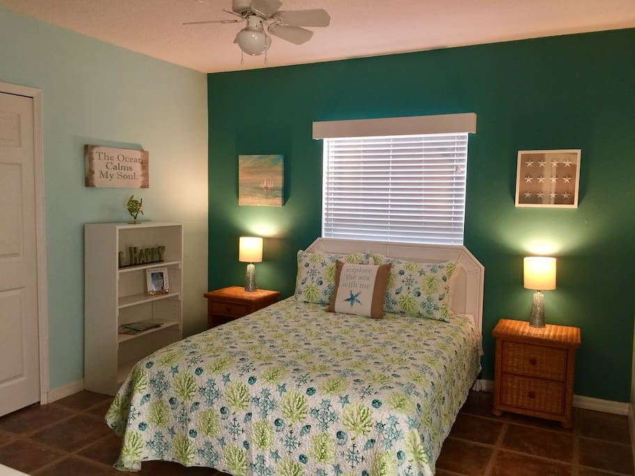 Master bedroom has queen bed, closet, dresser. Linens are 100% combed cotton 400tc. Bath is adjacent to Master.