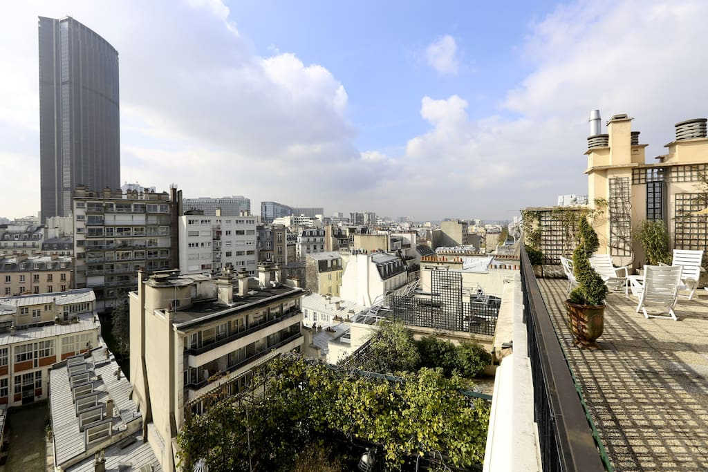 View on Montparnasse tower from the terraces 8th and 9th
