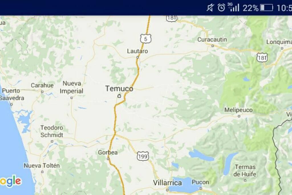 Carahue se ubica a la costa de Temuco (60km)