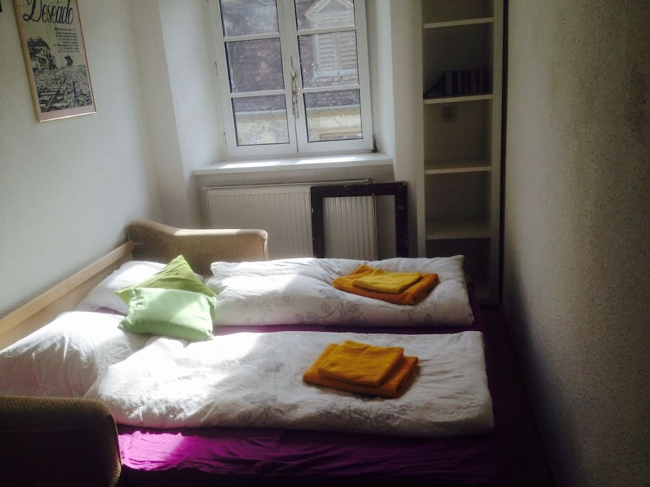 Privatzimmer: Bereich mit Doppelbett 140 x 200 Private room: area with double bed 140 x 200