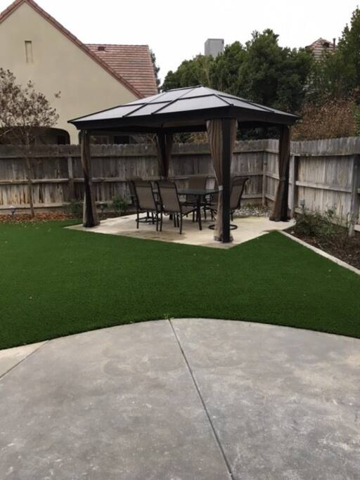 Backyard with synthetic lawn