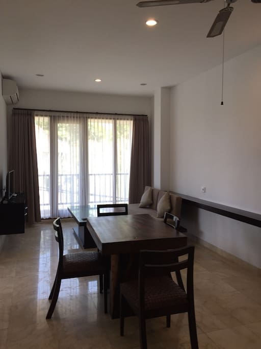Fully furnished with best material, marble floor, solid wood table and chairs