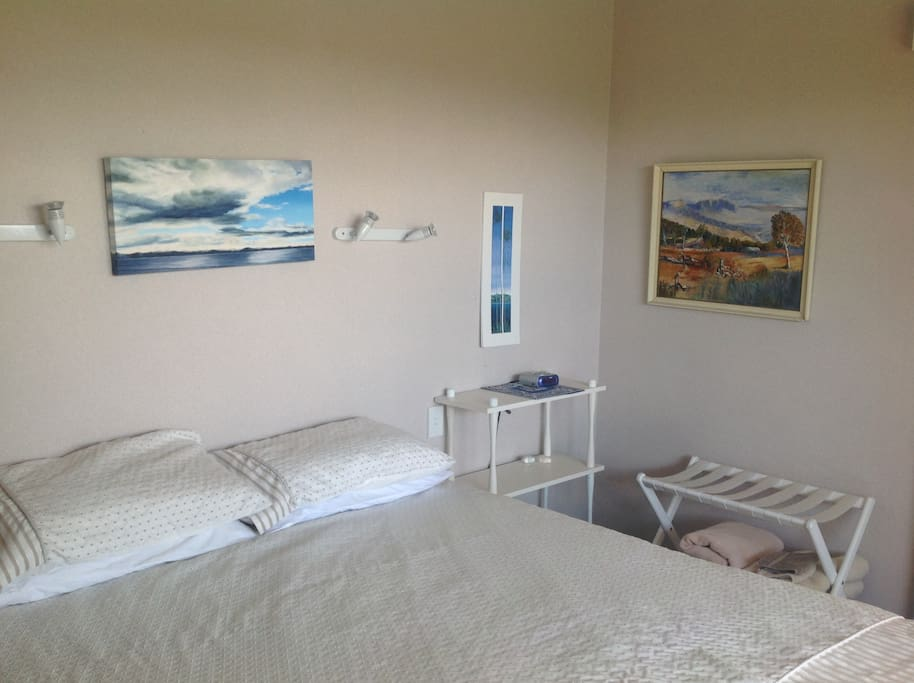 Queen size bed room. Heater, dressing gowns, wardrobe and mirror/hairdrier.