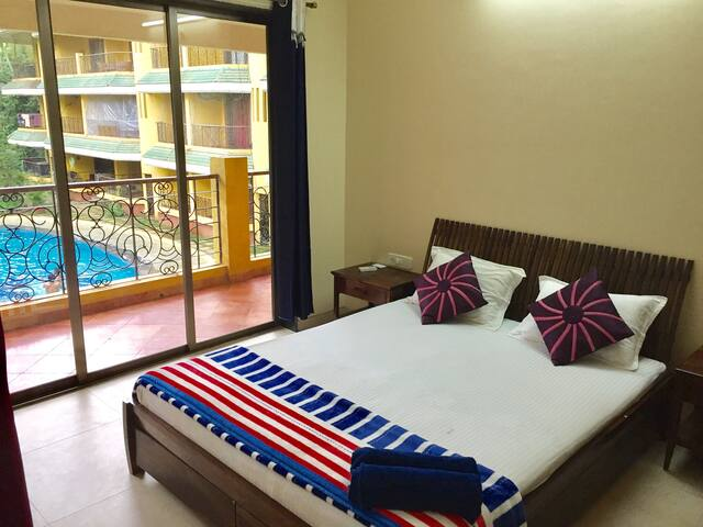 Pool facing 1 Bedroom Apt near Baga Beach Area
