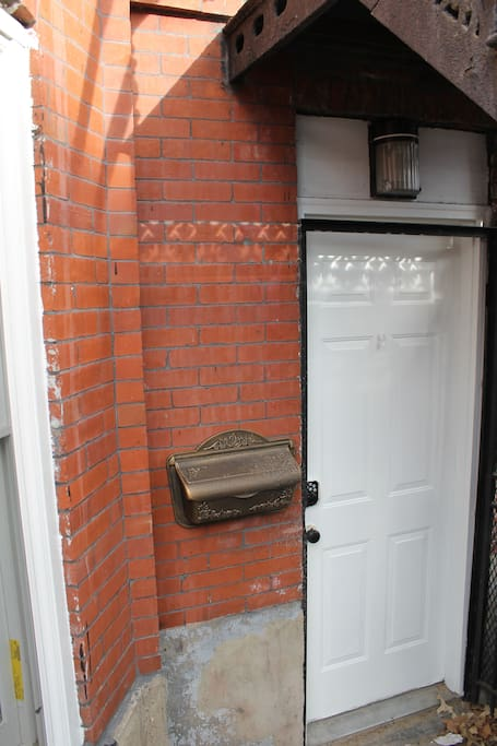 Private entrance with key pad entry