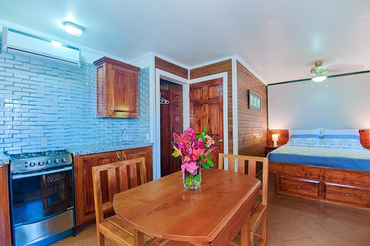 Abajo is a downstairs, queen bed, poolside, studio condo