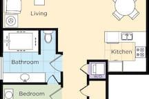 1 Bedroom Floor Plan - Option 1