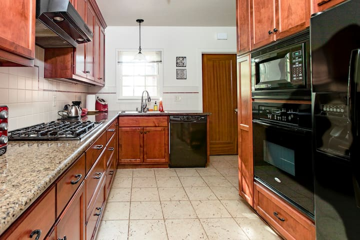 Completely updated kitchen. Pots and pans, dishes and most kitchen basics available.