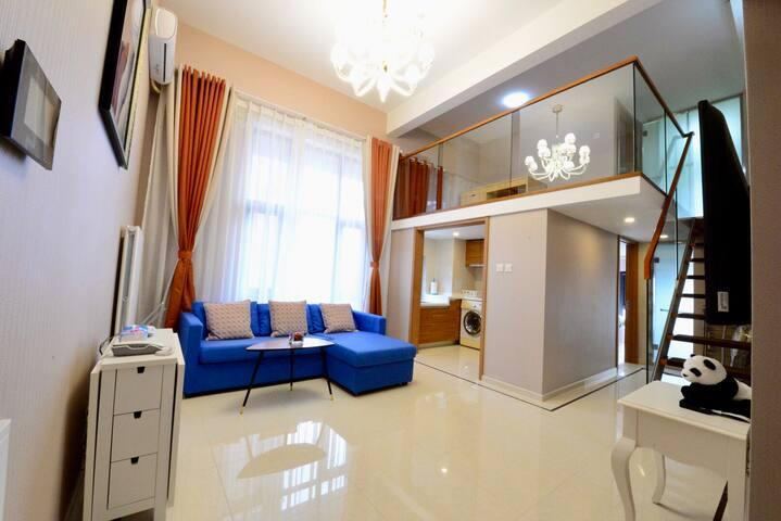 Living room with loft design