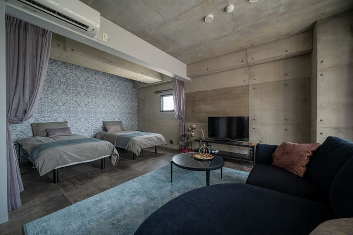 座喜味城跡まで車で3分、10月NewOpenのデザイナーズヴィラ RoomB