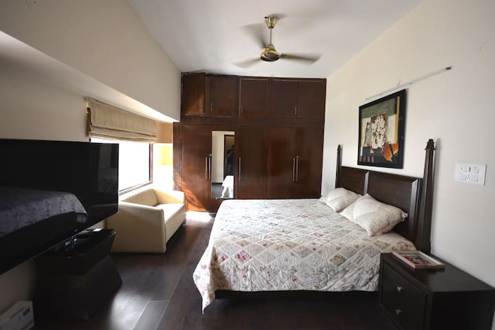 Bedroom No.2 with Huge TV, Sitting and Attached Bathroom/Toilet