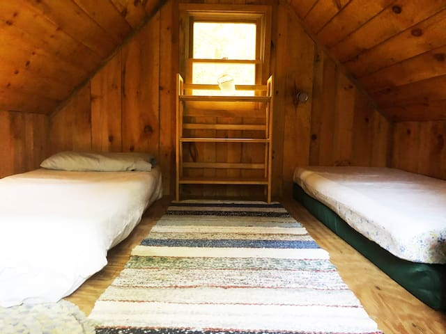 Beds in the loft.