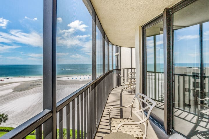 Beachfront condo featuring a shared pool, hot tub, & gym w/ stunning views