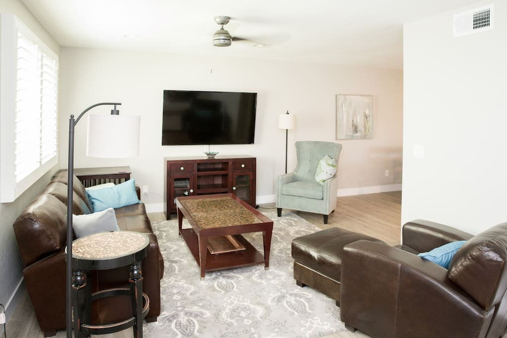 Comfy seating for 5 in the newly furnished living area. Professionally managed by TurnKey Vacation Rentals.