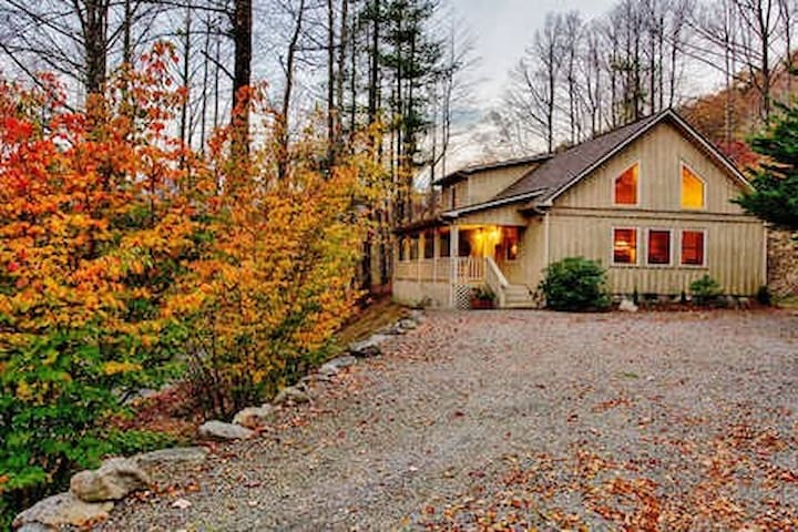 Cottage in the Fall.  Cottages are fairly close together.