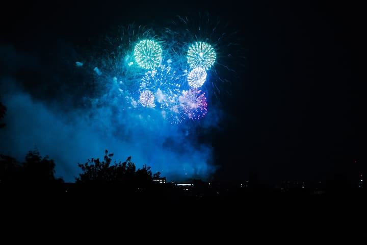 Castle fireworks seen from Penthouse