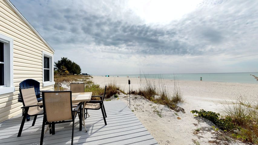 Gulf-front home with deck and direct beach access - steps to trolley!