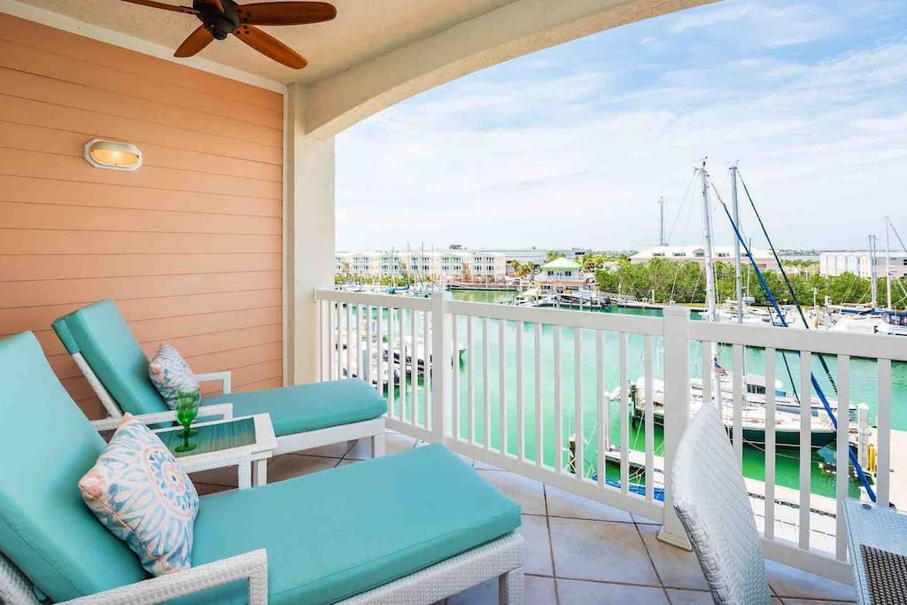 The balcony has chaise lounges for relaxing outside...