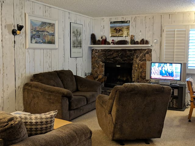Enjoy the wood-burning fireplace while watching TV. Movies for entertainment emergencies are in the TV cabinet.