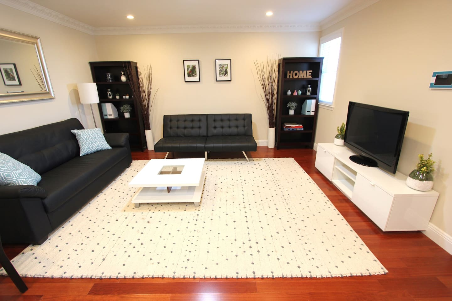 Living room - futon, couch, TV (Amazon Fire TV, no cable), coffee table