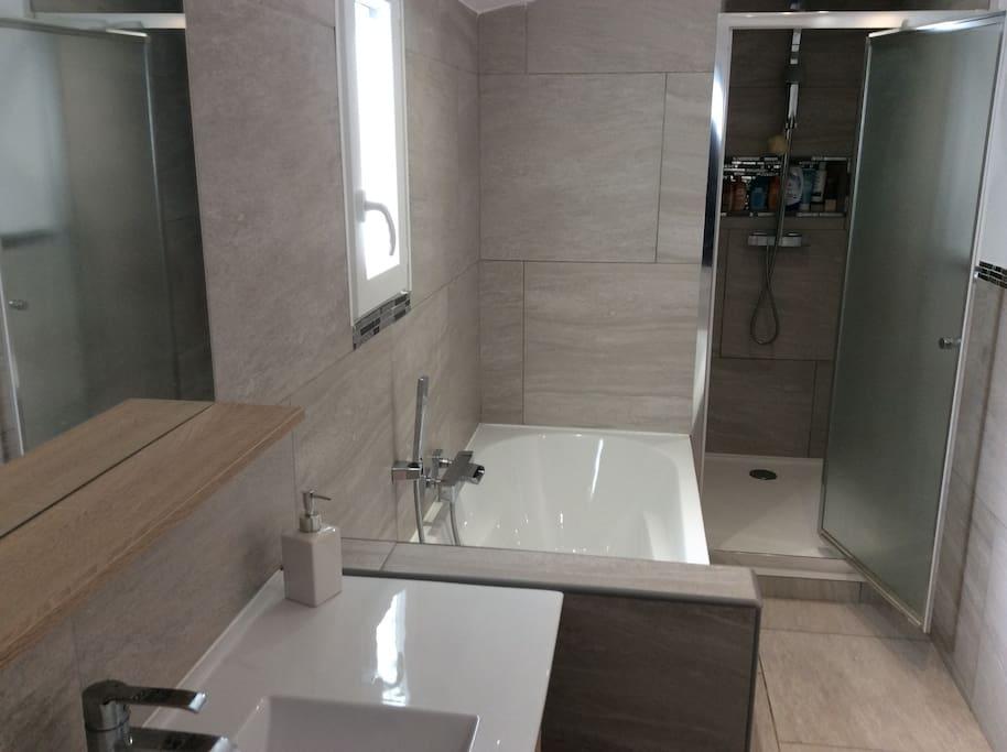 salle de bain ( douche, baignoire, vasque, wc suspendu )