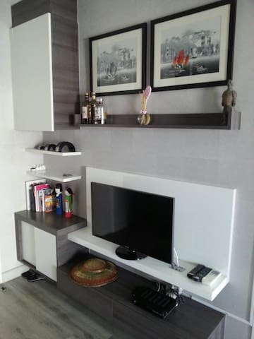 Cable TV with English channels and movies in the living room