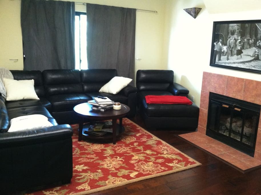 living room with A.C., Large screen T.V.