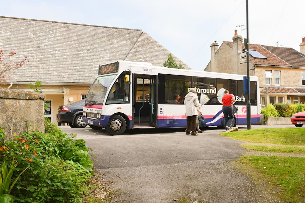 The number 1 bus service - 9 minutes from the Bus/Train Station. Our gates are behind the camera -