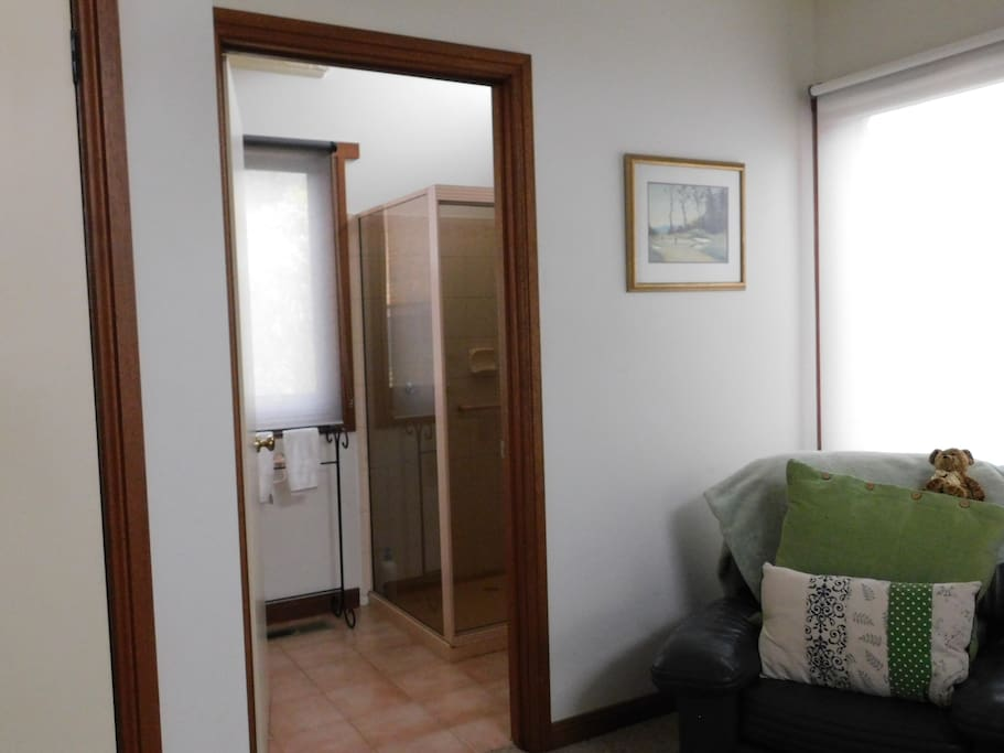 The ensuite bathroom has a shower, hand basin and toilet and it is all yours during your stay.