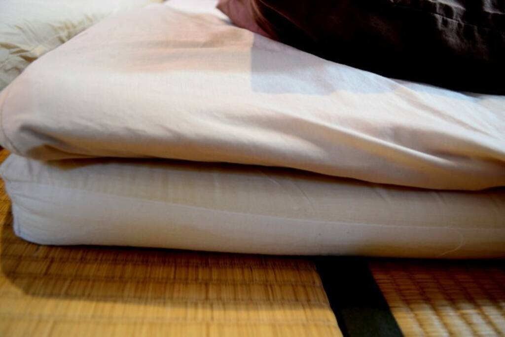 Futon beds with mattress. You can sleep as you sleep on the bed.