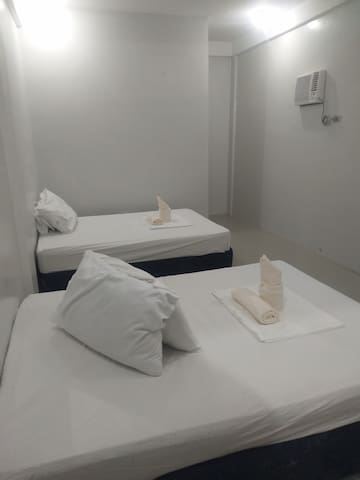 Each room has 2 double beds, private bathroom and air condition.