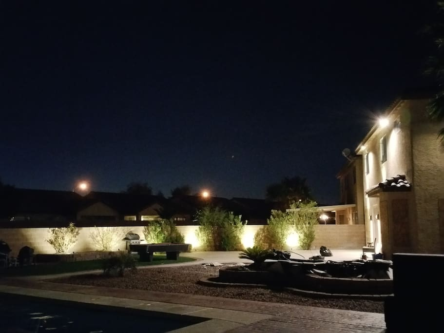 Another view of the backyard at night