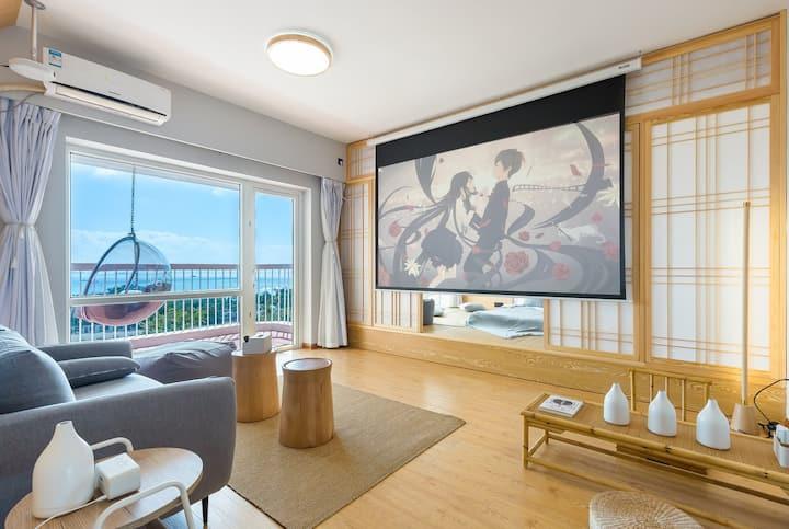 日式の全屋智能灯光120寸投影海景带厨房