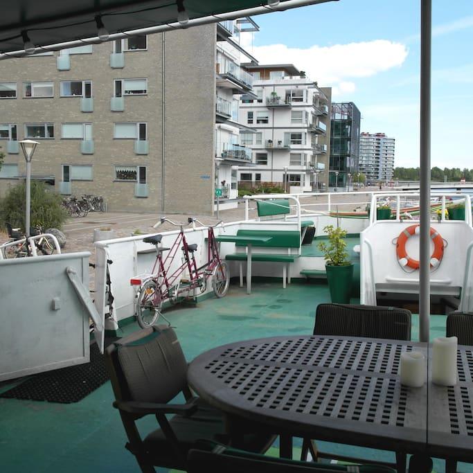 around 60 m2 of Sun deck, half covered