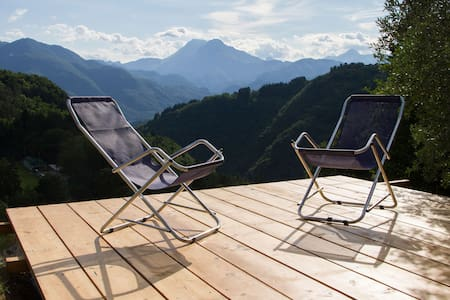 Chalet with pool and panoramic view - Coreglia Antelminelli - Blockhütte