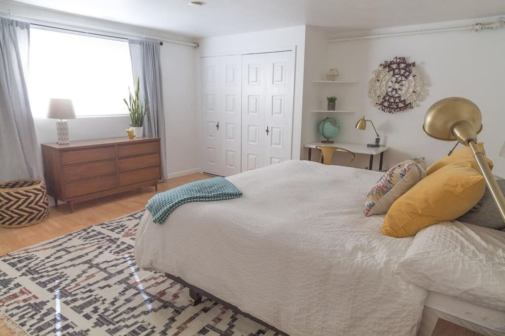 This bed rocks and so does the vintage mid century dresser.