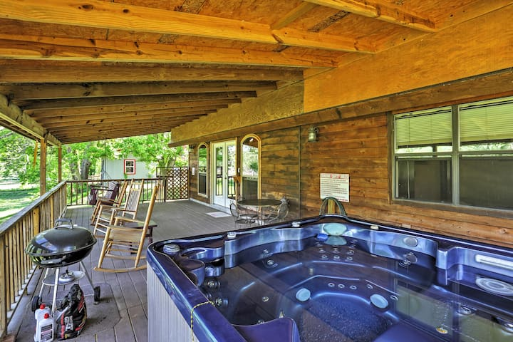 Take in breathtaking views while sitting in the soothing hot tub.