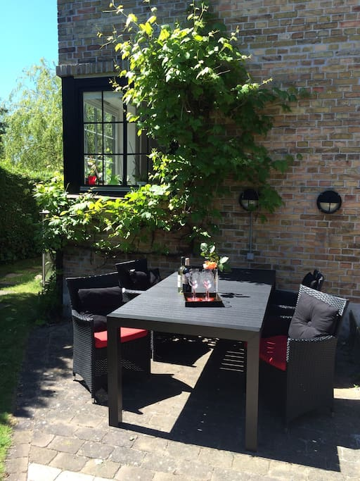 Dinner or drinks on the terrasse outside by the grapevine