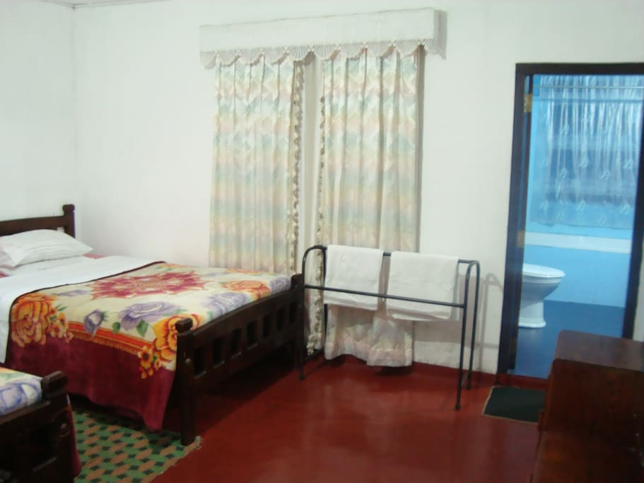 Room No. 2 with two double beds with a private tiled bathroom with hot water shower.