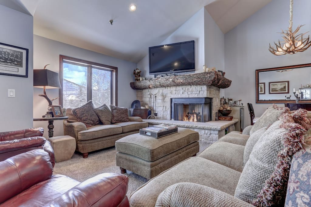 Living Room with TV, Fireplace