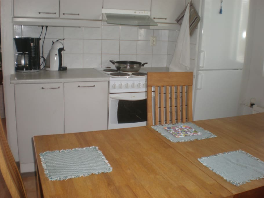 In the fully eguipped kitchen you can prepare your meals or we can make you some snacks or breakfast for a separate price There is an electric oven,- stove, microwave oven, dishwasher, water boiler and toaster.